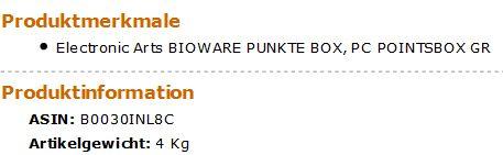 Bioware Punkte Box Gewicht